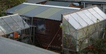 Shed re-roofed with box profile steel sheeting