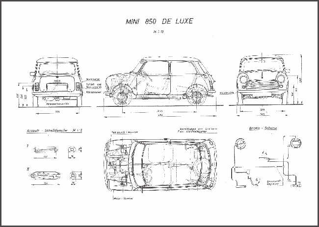 Austin Mini plans from drawingdatabase.com.